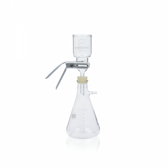 WHEATON® 47mm Filtration Assembly No 8 Stopper With Fritted Glass Support, 300mL Funnel