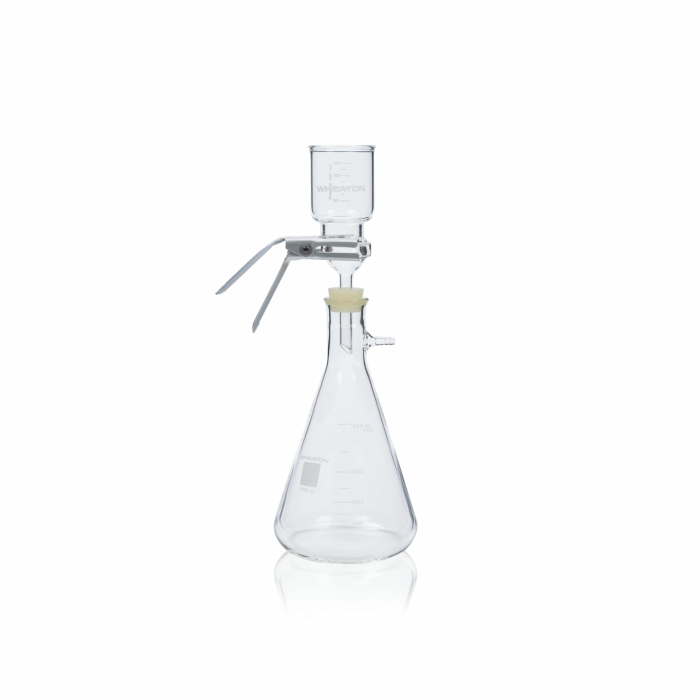 WHEATON® 47mm Filtration Assembly No 8 Stopper With Stainless Steel Support, 300mL Funnel