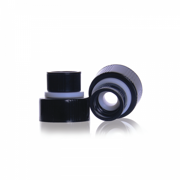 WHEATON® THE WHEATON CONNECTION® Screw Thread Connector, With Black Phenolic Cap, 13-425 and 22-400