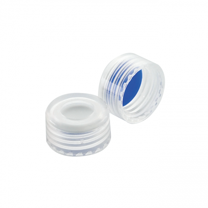 WHEATON® 9 mmABC Screw Cap, With Blue PTFE / White Silicone Liners, Natural PP