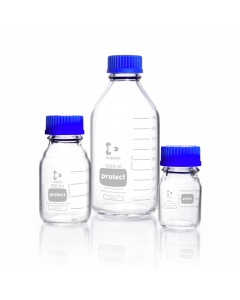 DURAN® Protect Laboratory Bottle Protect coated Clear With screw cap and pouring ring.