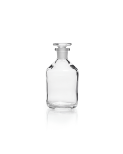DWK Reagent Bottle Narrow Neck Soda-Lime Glass Clear, with standard ground glass flat-headed stopper