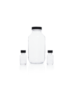KIMBLE® Clear Glass French Square Bottles, Bulk Packs, Shrink Modules with Caps in Bags