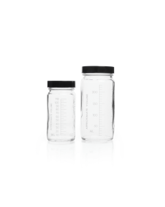 KIMBLE® Clear Glass Graduated AC Medium Round Bottles, Corrugated Cartons with Divider Cells, Caps Bagged