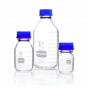 DURAN® protect GL 45 Laboratory Bottle, clear, plastic safety coated, with screw cap and pouring ring, PP, blue, 2000 mL