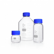 DURAN® Laboratory Bottle Wide Mouth, GLS 80®, Clear, with screw cap and pouring ring from PP (blue), 500 mL