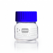 DURAN® Laboratory Bottle Wide Mouth GLS 80®, Protect coated Clear, with screw cap and pouring ring from PP (blue), 500 mL