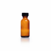 KIMBLE® Amber Glass Boston Round Bottles, Shrink Modules With Caps in Bags, Rubber, 60 mL