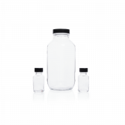 KIMBLE® Clear Glass French Square Bottles, Bulk Packs, Shrink Modules With Caps in Bags, 250 mL, Rubber