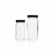 KIMBLE® Clear Glass AC Medium Round Bottles, Convenience Packs (Caps Attached), 500 mL, PTFE-Faced LDPE Foam