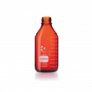 DURAN® protect GL 45 Laboratory Bottle, amber, plastic safety coated, without screw cap and pouring ring, 500 mL