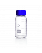 DURAN® Laboratory Bottle Wide Mouth GLS 80®, Protect coated Clear, with screw cap and pouring ring from PP (blue), 1000 mL