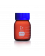 DURAN® Laboratory Bottle Wide Neck GLS 80®, Protect coated Amber, with screw cap and pouring ring from PP (blue), 500 mL