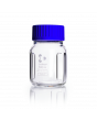 DURAN® Laboratory Mixing Bottle, Baffled, Wide Mouth GLS 80® Clear, with screw cap and pouring ring from PP (blue), 500 mL