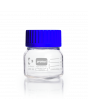 DURAN® Laboratory Bottle Wide Mouth GLS 80®, Protect coated Clear, with screw cap and pouring ring from PP (blue), 250 mL