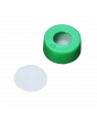 WHEATON® µL MicroLiter® 11 mm Snap Cap With Septa, PTFE Disk Septa, Green, Case of 100