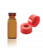 WHEATON® E-Z VIAL® With Snap Ring Convenience Packs, Amber, PTFE / Silicone / PTFE, Cap Color: Red