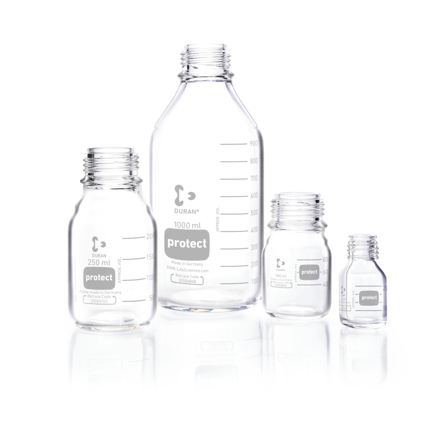 DURAN® protect GL 45 Laboratory Bottle, clear, plastic safety coated, without screw cap and pouring ring, 5000 mL