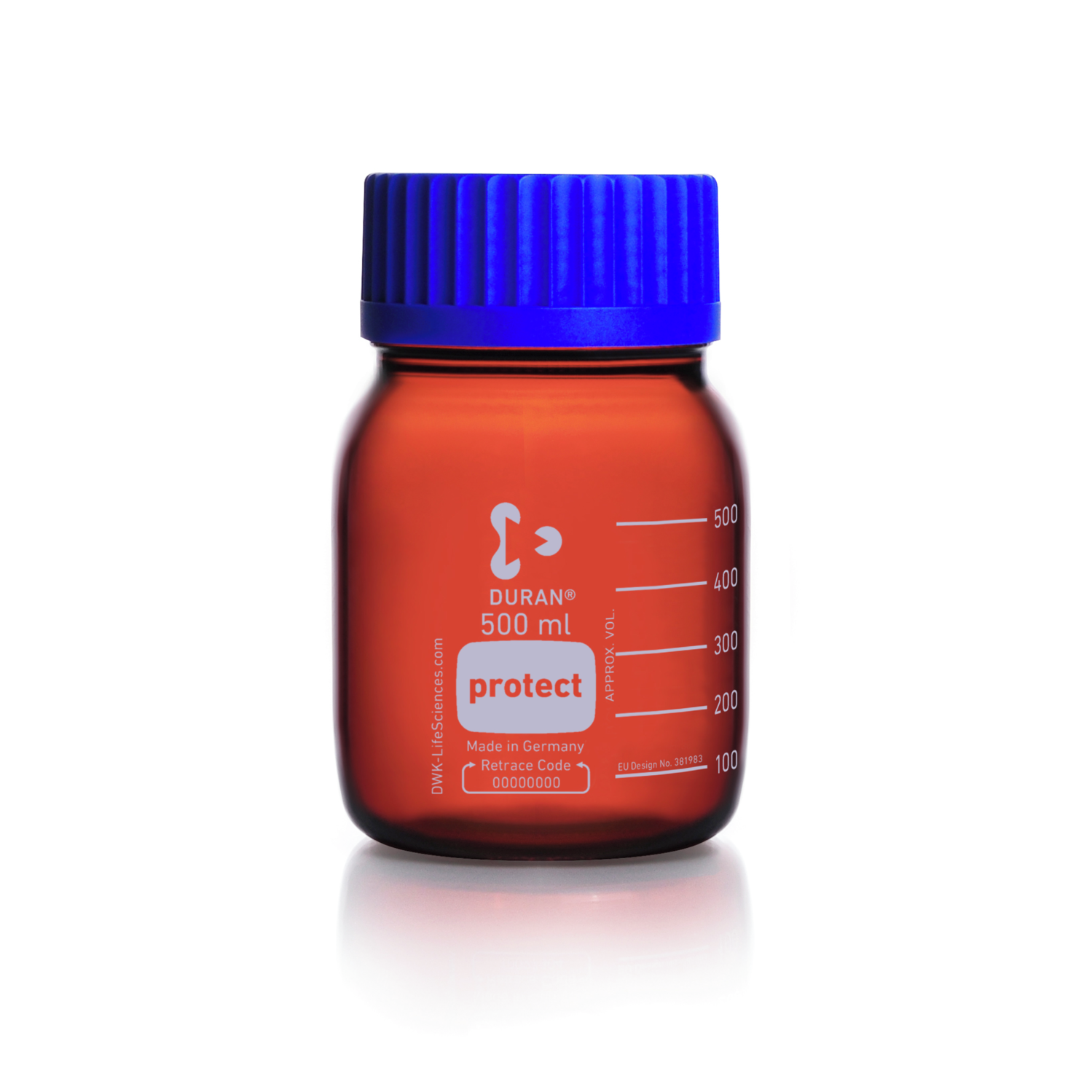 DURAN® Laboratory Bottle Wide Neck GLS 80®, Protect coated Amber, with screw cap and pouring ring from PP (blue), 1000 mL