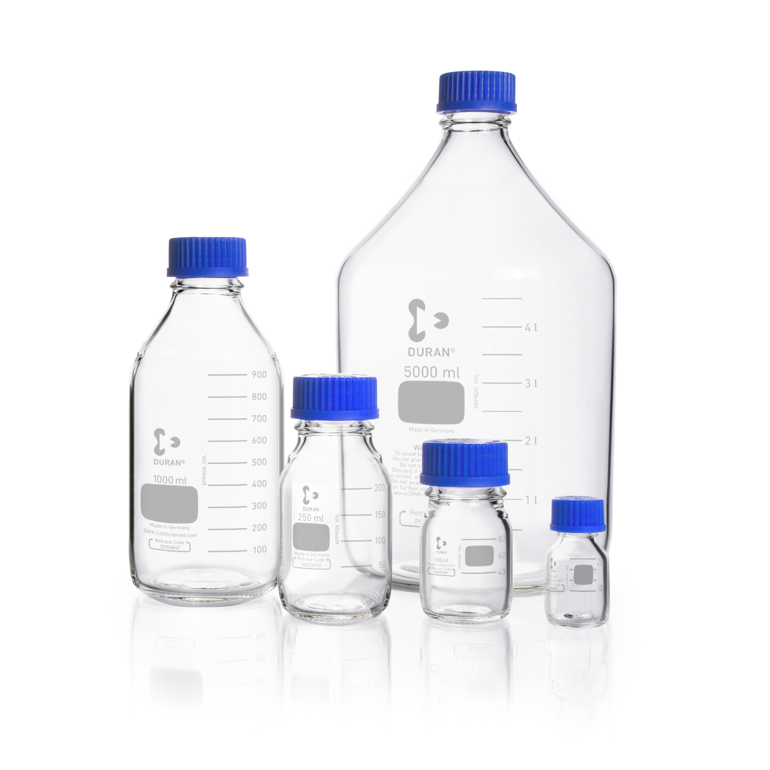 DURAN® Original GL 45 Laboratory Bottle, clear, with screw cap and pouring ring, PP, blue, 500 mL