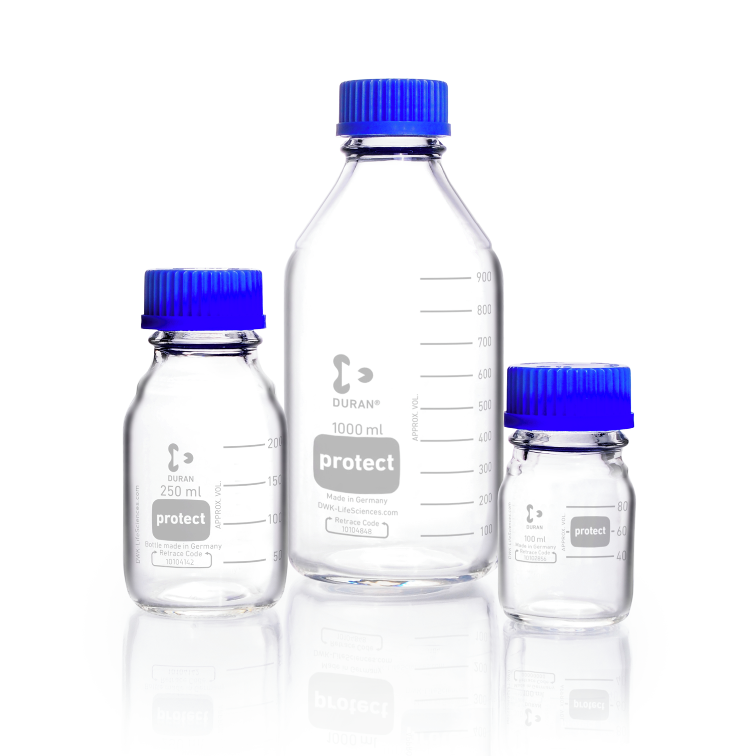 DURAN® protect GL 45 Laboratory Bottle, clear, plastic safety coated, with screw cap and pouring ring, PP, blue, 500 mL