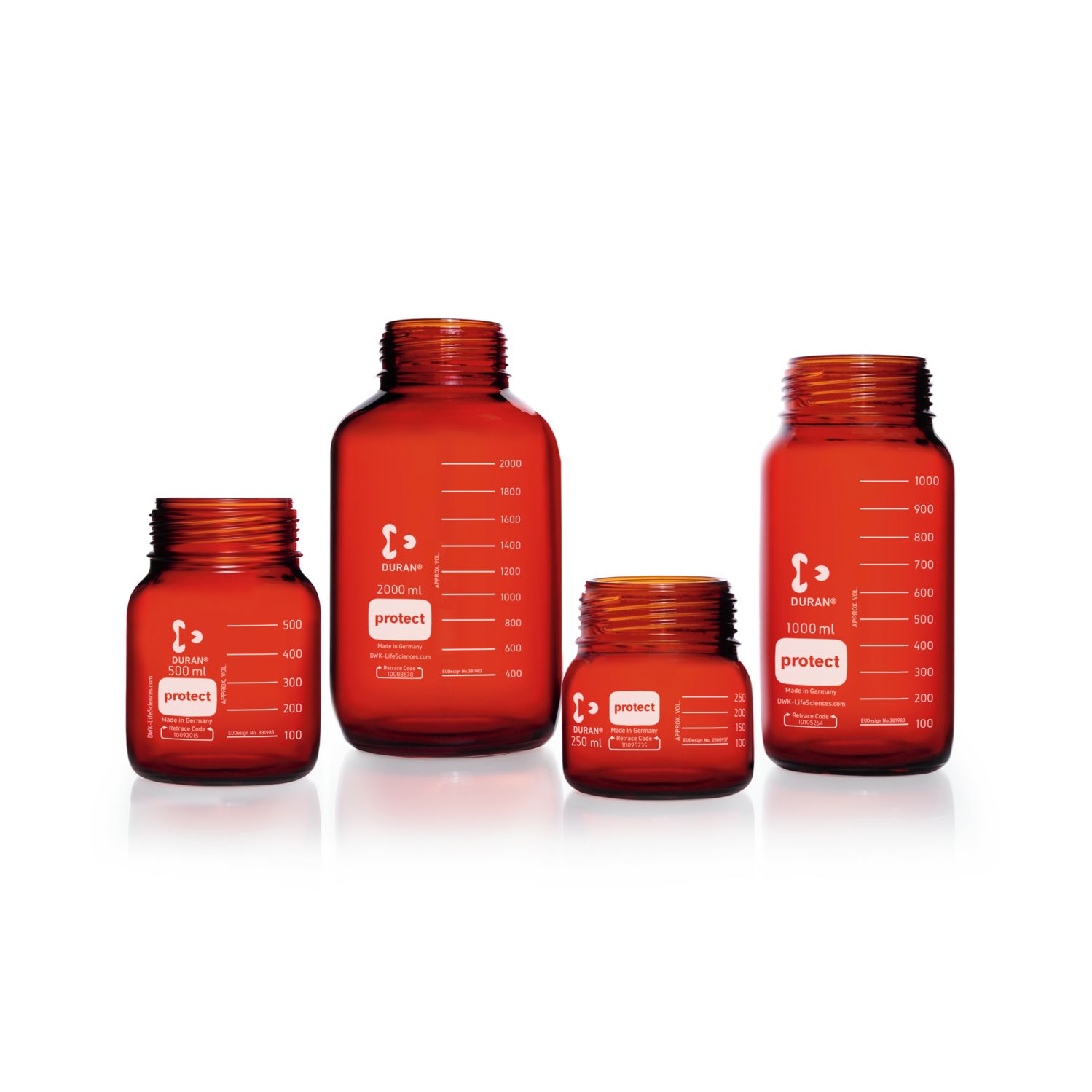 DURAN® Laboratory Bottle Wide Mouth GLS 80®, Protect coated Amber, Supplied as bottle only, no cap, 5000 mL