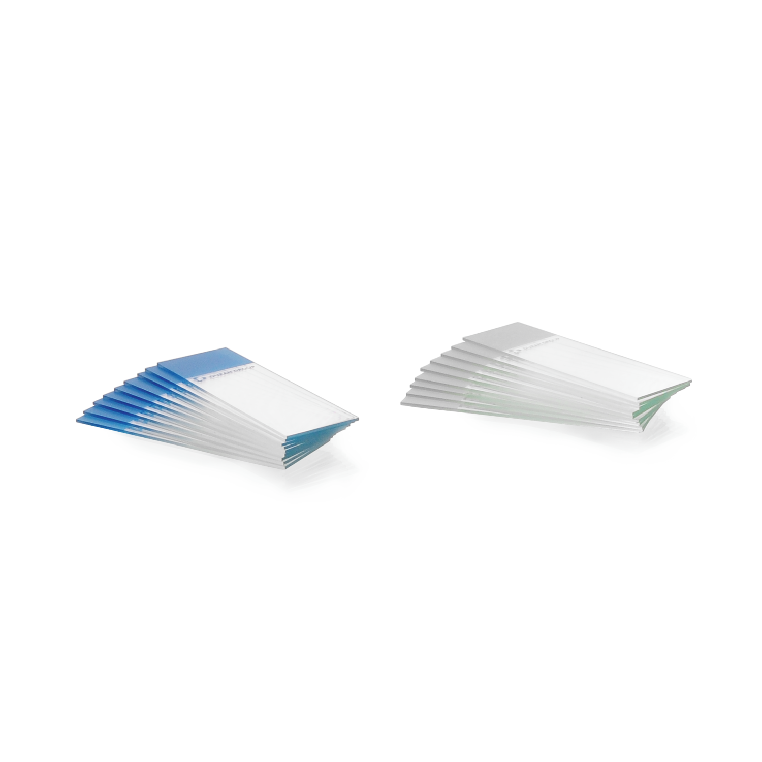 Microscope Slides from Soda-lime Glass, ground edges 90°, white adhesive ++