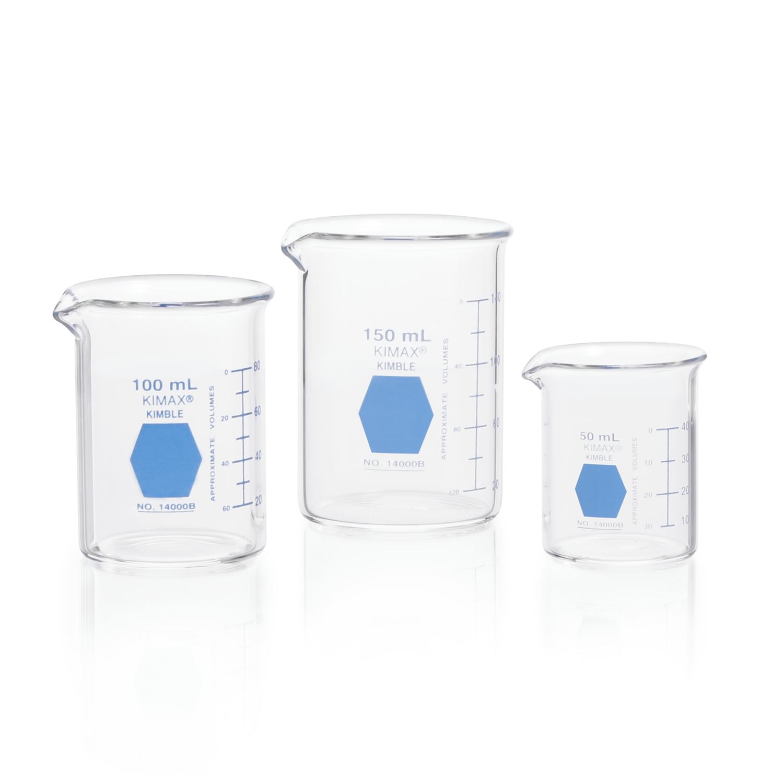 KIMBLE® KIMAX® Colorware Beaker, low form, with spout, Blue, 250 mL
