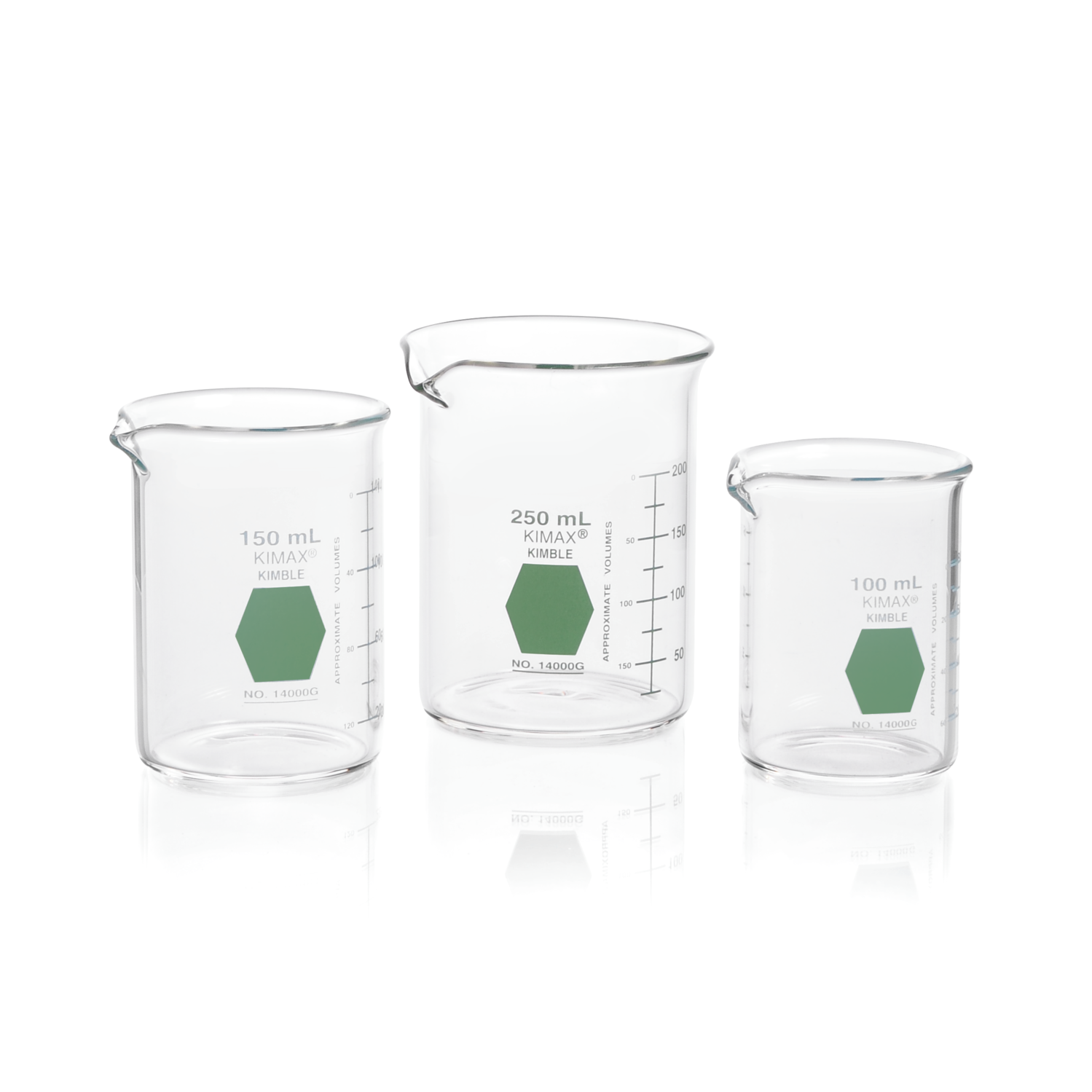 KIMBLE® KIMAX® Colorware Beaker, low form, with spout, Green, 600 mL