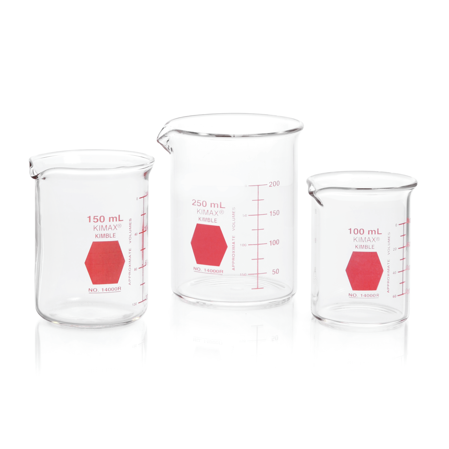 KIMBLE® KIMAX® Colorware Beaker, low form, with spout, Red, 1000 mL