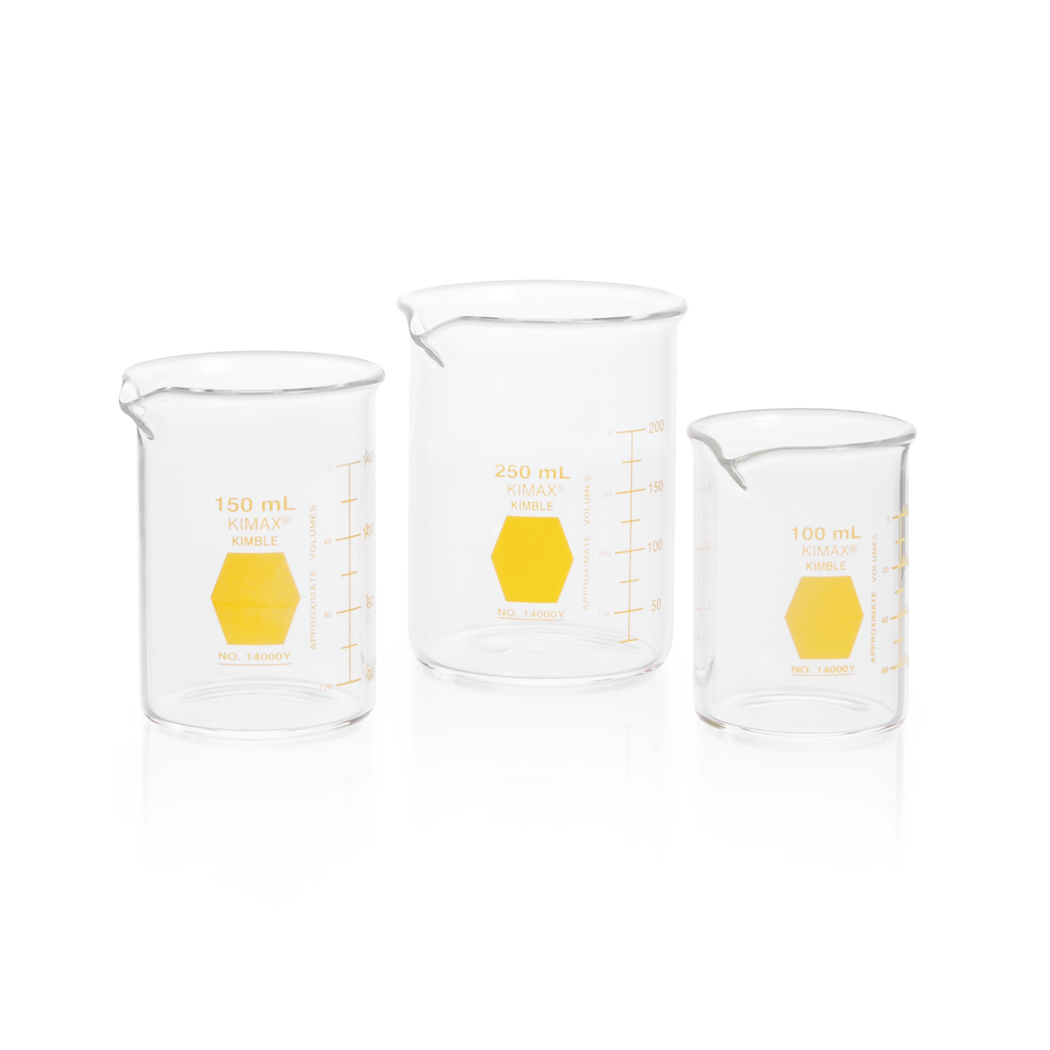 KIMBLE® KIMAX® Colorware Beaker, low form, with spout, Yellow, 1000 mL