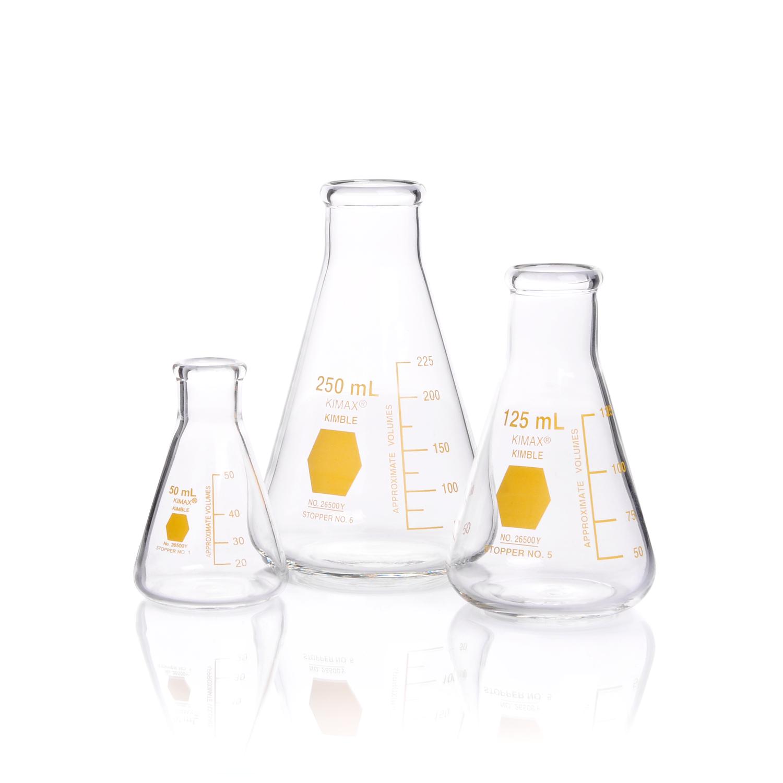 KIMBLE® KIMAX® Coloware Erlenmeyer Flask, Yellow, 1000 mL