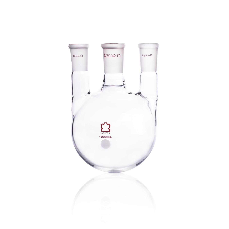 KIMBLE® KONTES® Three Vertical Neck Round Bottom Flask, 1000 mL, 29/42 mm Center, 29/42 mm
