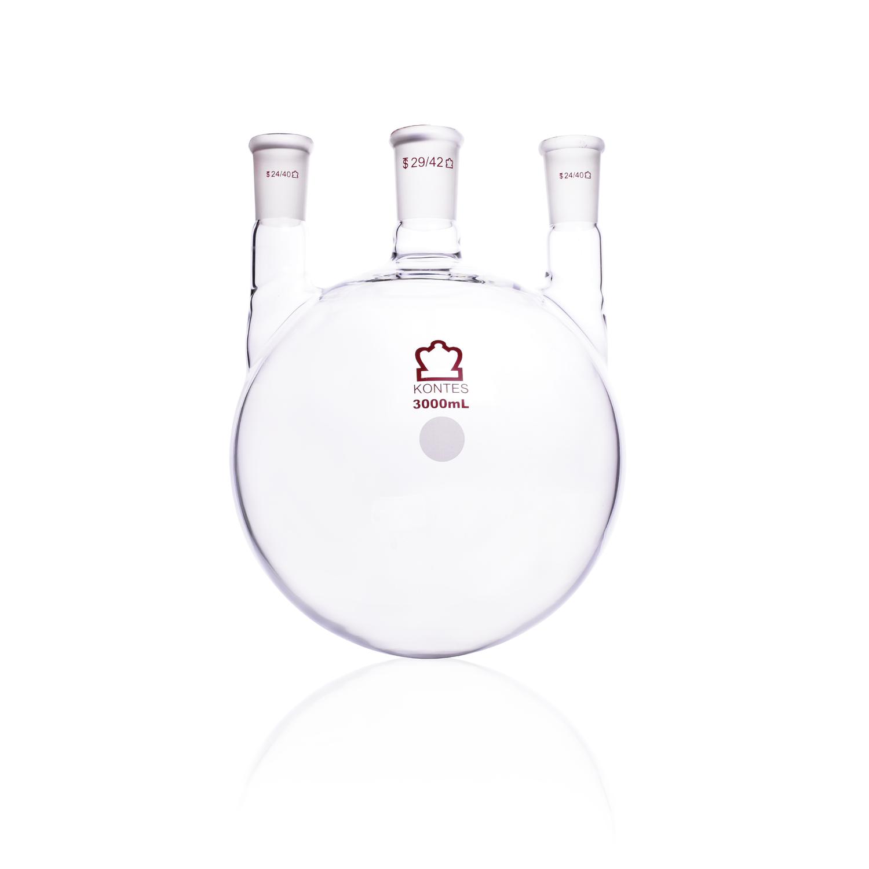 KIMBLE® KONTES® Three Vertical Neck Round Bottom Flask, 3000 mL, 24/40 mm Center, 24/40 mm