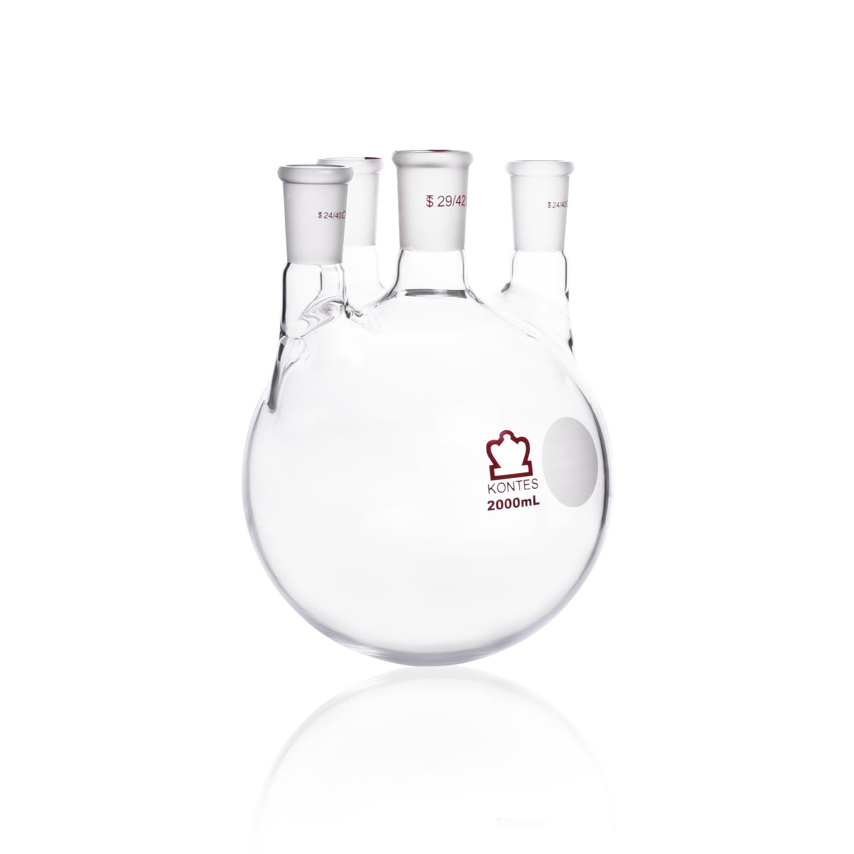 KIMBLE® KONTES® Four Vertical Neck Round Bottom Flask, 45/50, 24/40, 2000 mL