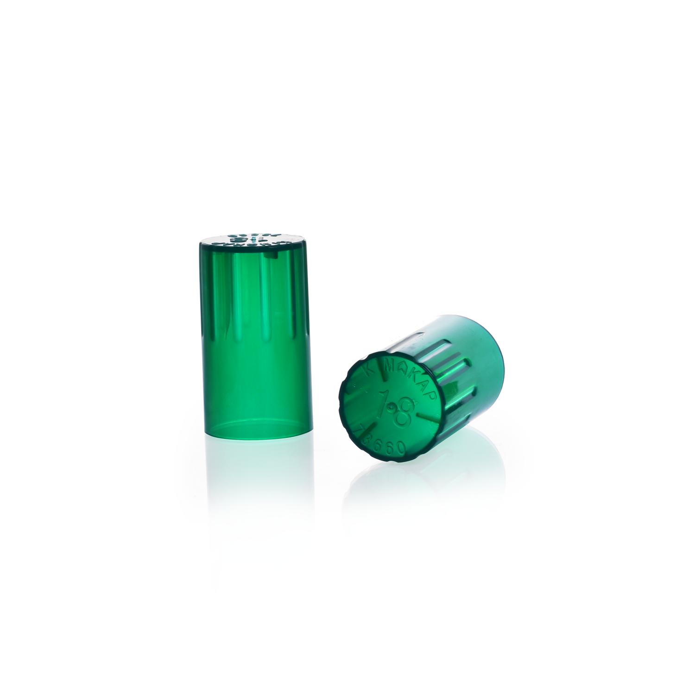 KIMBLE® KIM-KAP™ Polypropylene Cap, Green, Fits 16 mm Tube OD
