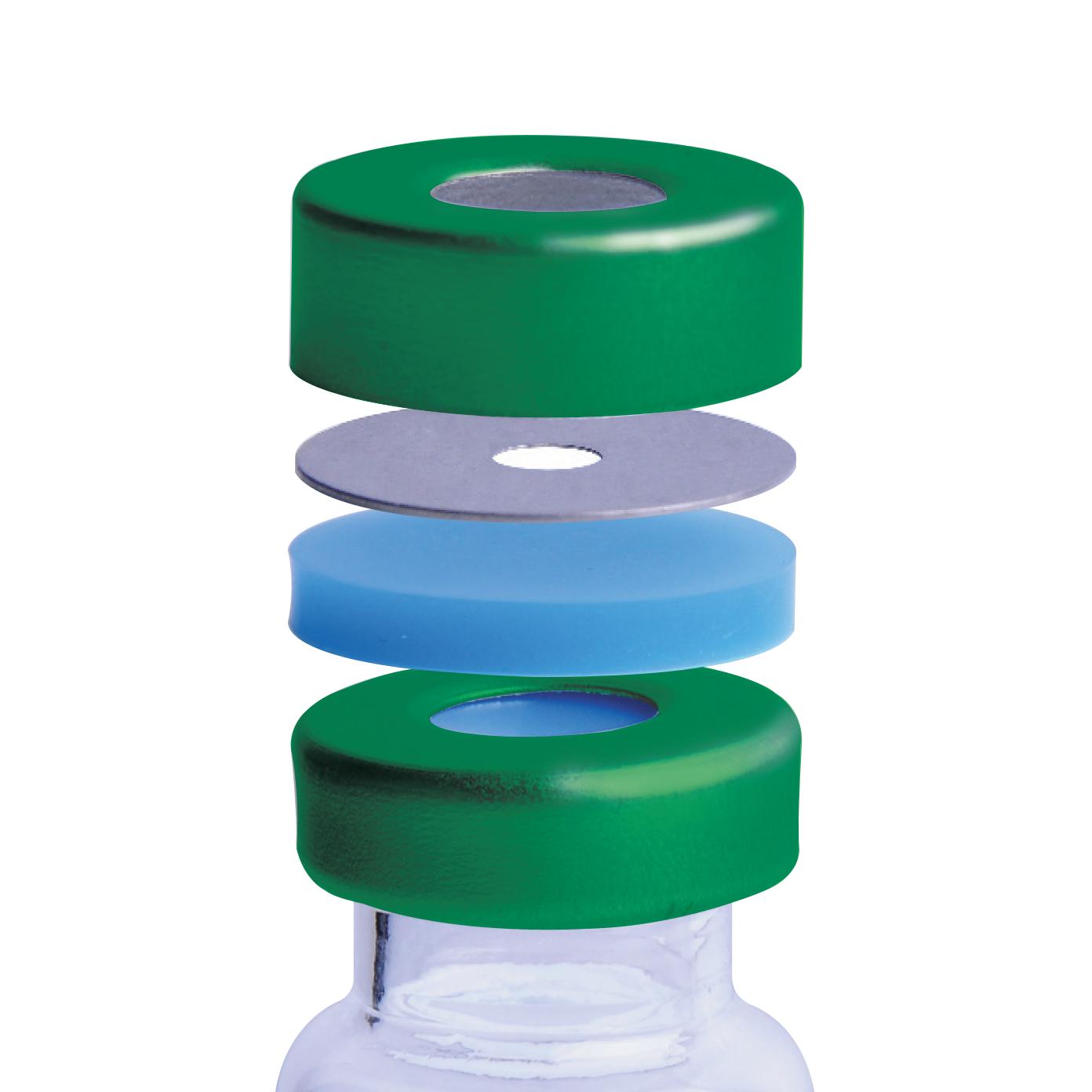 "WHEATON® µL MicroLiter® 20 mm Crimp Seal With Septa, AlumiTin™ Small Opening, Tan PTFE / White Silicone, 0.130"""