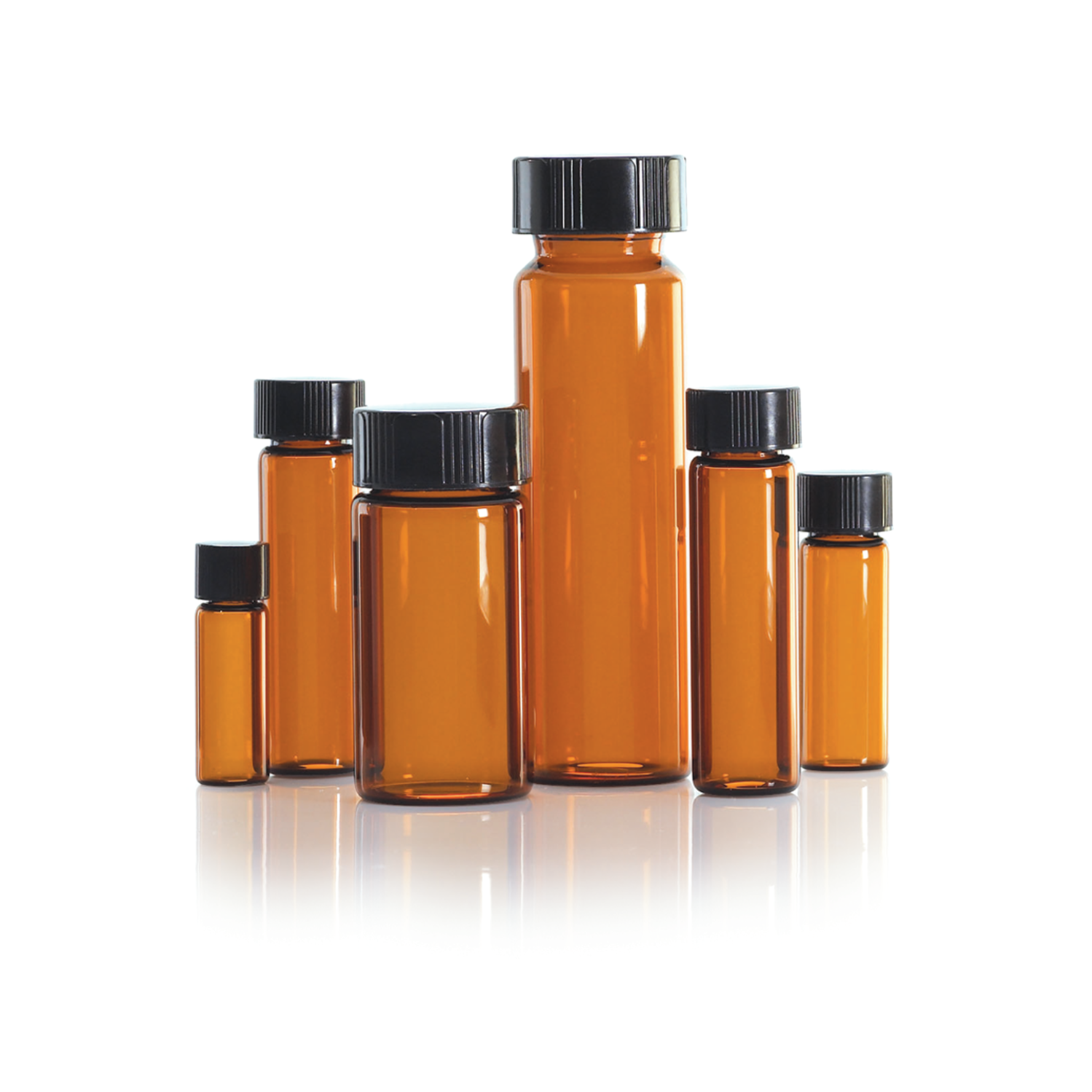 WHEATON® LAB FILE® Sample Vials, 40mL Standard Vials With Caps Attached, Amber, 14B Rubber Septa