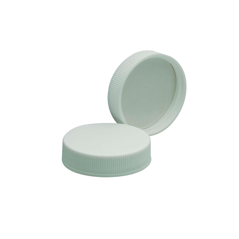 WHEATON® White Polypropylene Screw Cap, PTFE-Faced Foamed Polyethylene Liner, 38-400