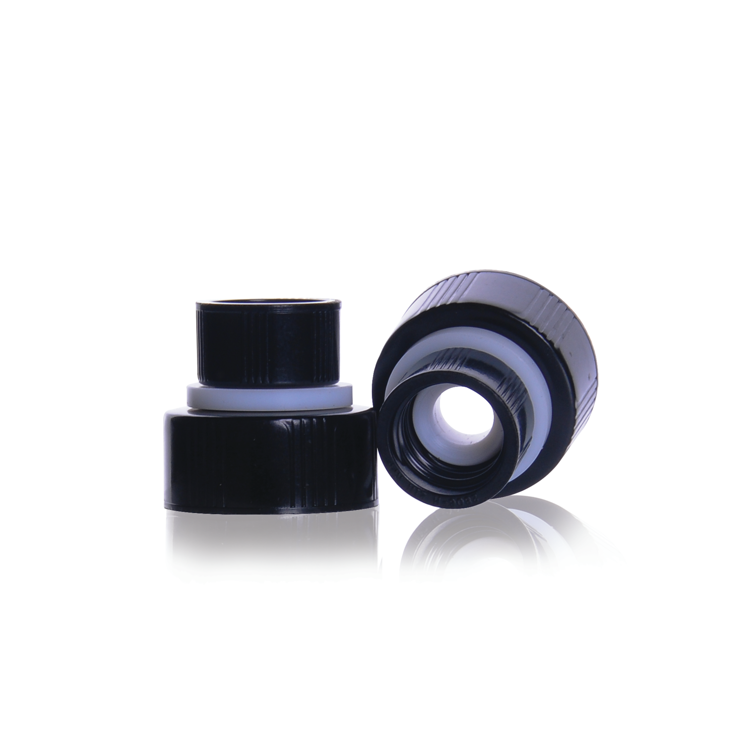 WHEATON® THE WHEATON CONNECTION® Screw Thread Connector, With Black Phenolic Cap, 13-425 and 24-400