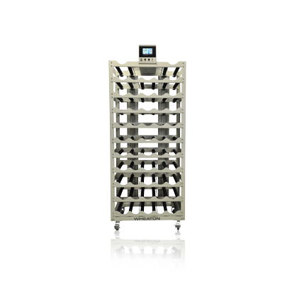 WHEATON® Standard Roller Rack Apparatus, Top Drive Production Spacing, 52 Bottle Positions