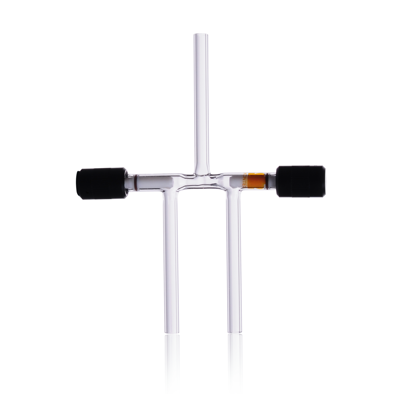 KIMBLE® HI-VAC® Three-Way Valve, with PTFE Plug, without Tip O-Ring, Bore Range 0-4 mm