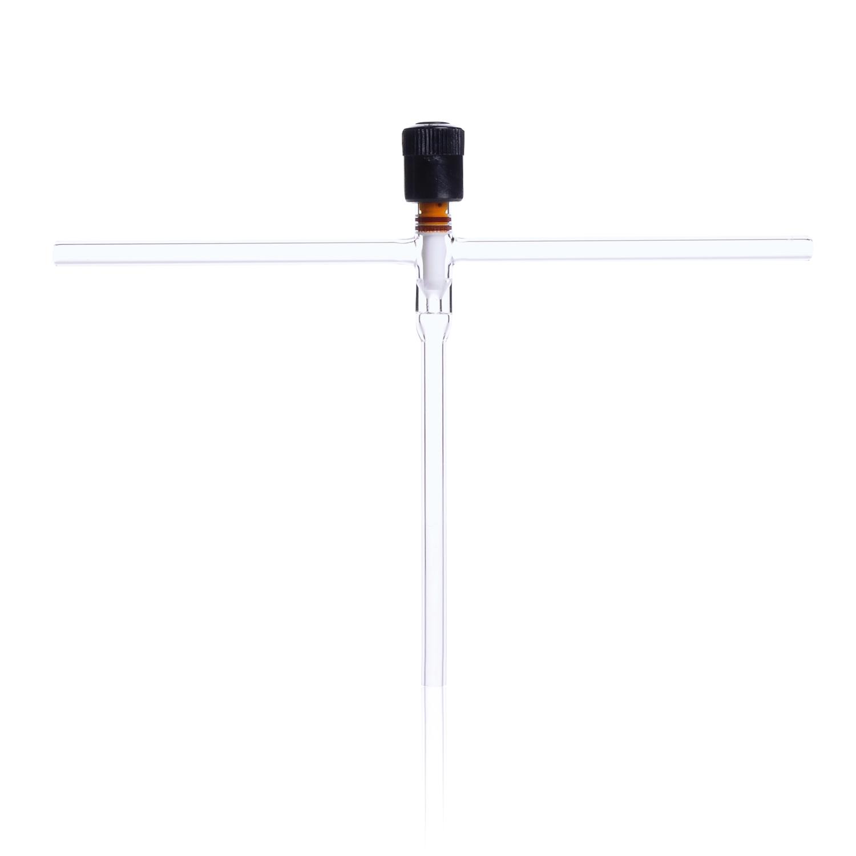 KIMBLE® HI-VAC® T-Type Valve, with PTFE Plug, without Tip O-Ring, Bore Range 0-8 mm