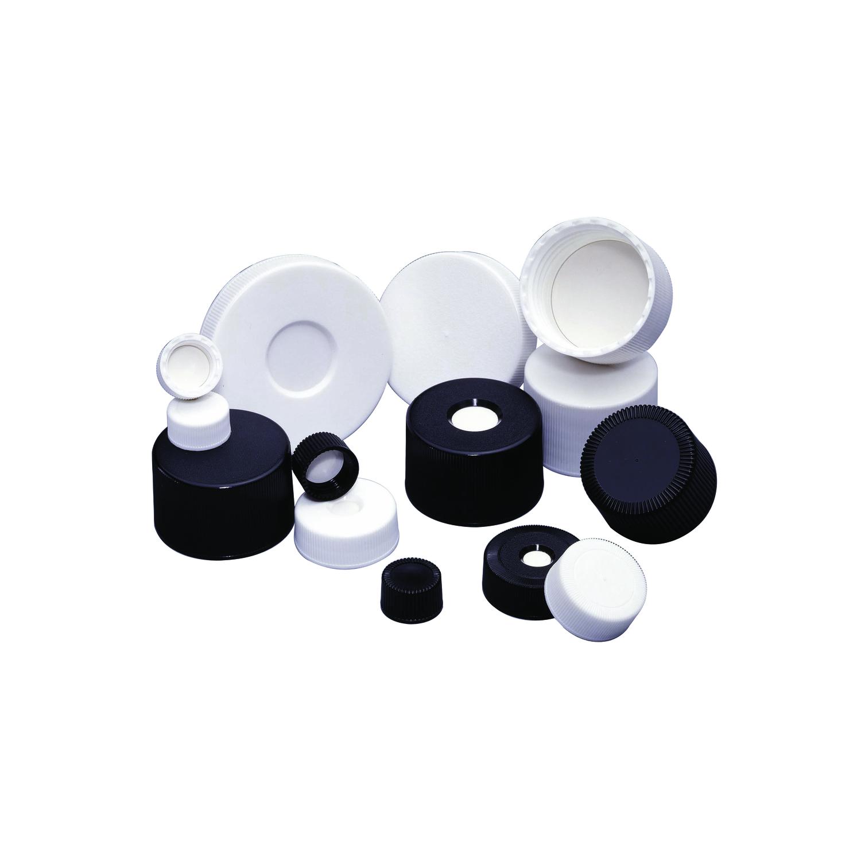WHEATON® MICROLINK® Screw Cap, Black, PP / Silicone / PTFE, 38-430, Open Top, Case of 50