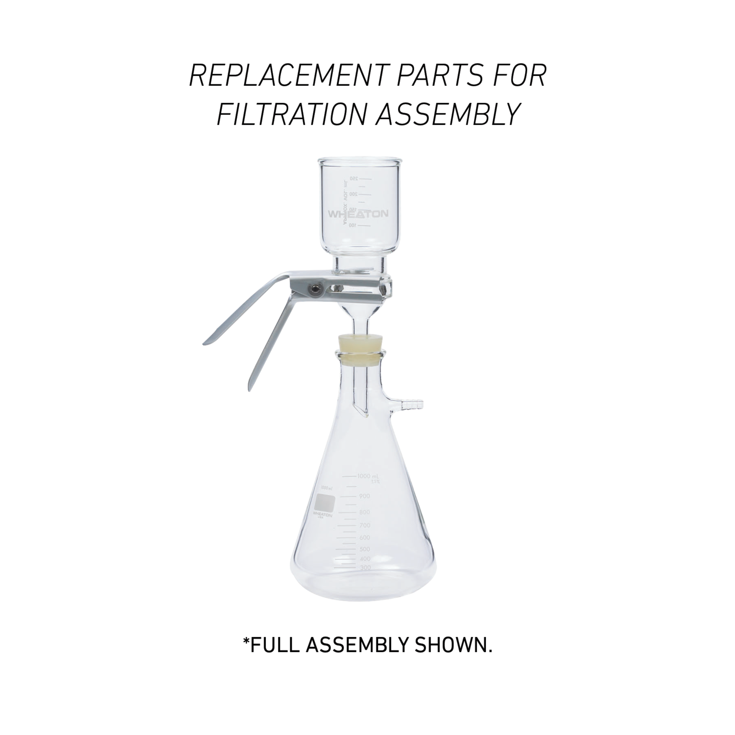 WHEATON® 47mm Filtration Assembly Replacement Part, Glass Funnel, 47mm, 300mL