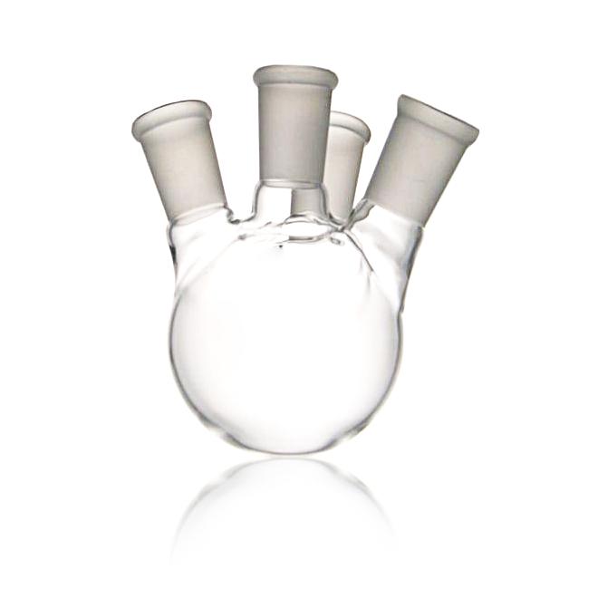 KIMBLE® KONTES® Angled Four Side Neck Round Bottom Flask, 14/20, 14/20, 25 mL
