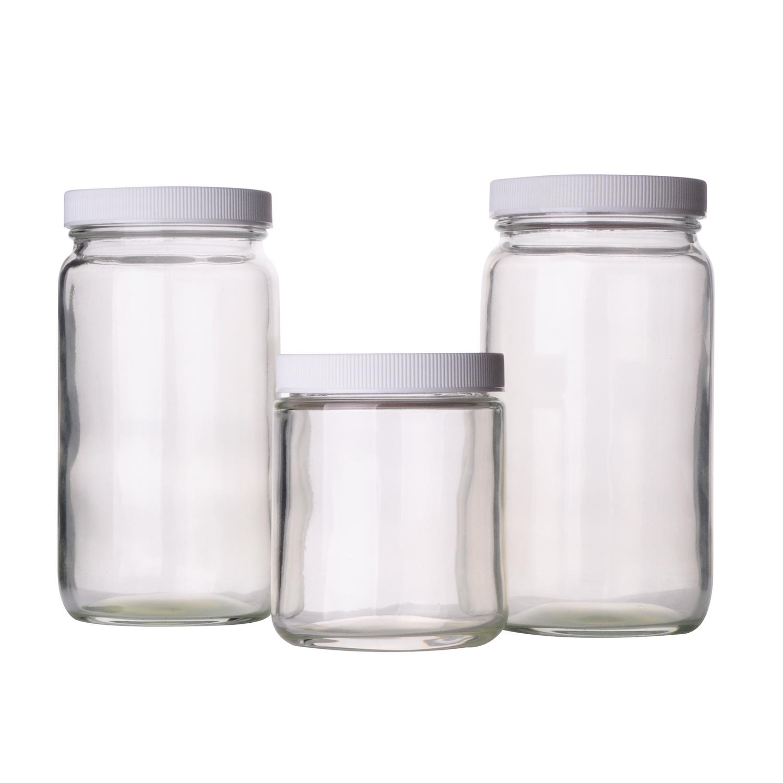 WHEATON® Safety Coated Straight Sided Jar, Amber, PTFE Faced Foamed Polyethylene, 1000 mL