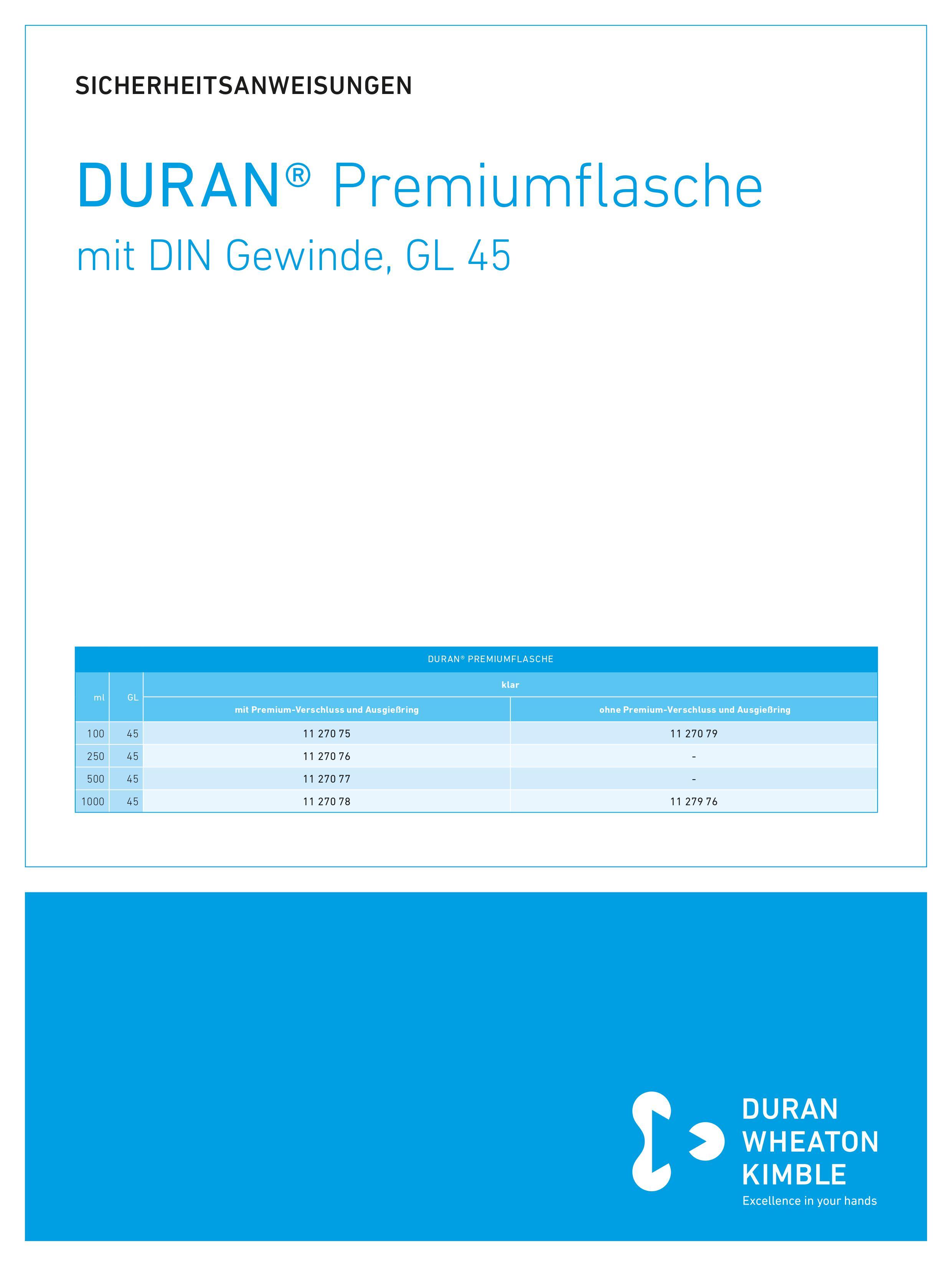 DWK SICHERHEITSANWEISUNGEN DURAN® Premium Bottle