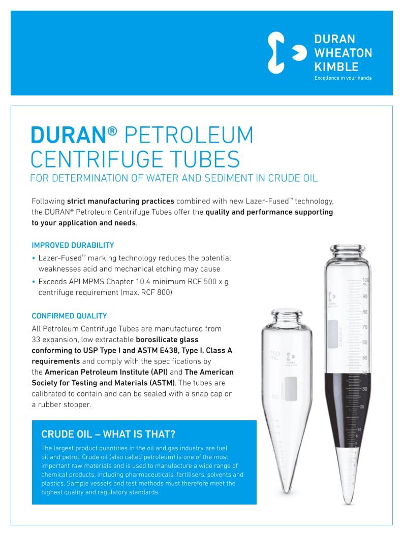 DWK Petroleum Centrifuge Tubes Flyer EN