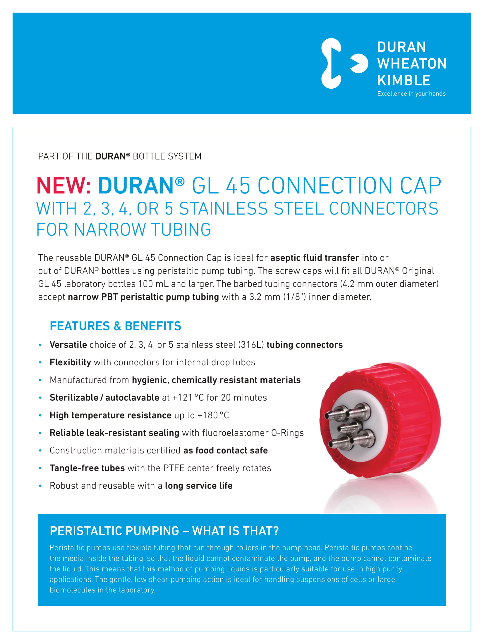 DURAN® GL 45 Connection Cap with 2, 3, 4 or 5 Stainless Steel Connectors